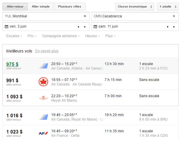 Maroc Google Flights 1