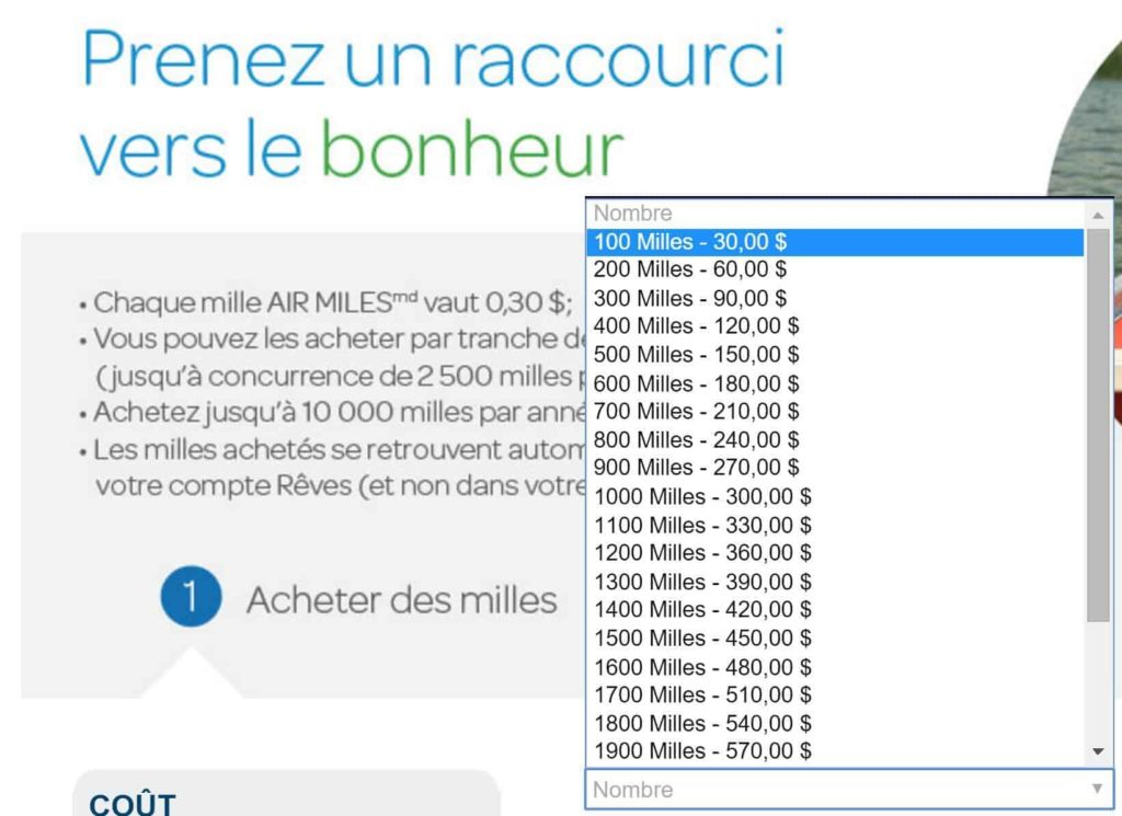 achat air miles cout normal