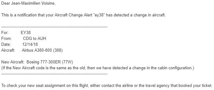 aircraft change etihad