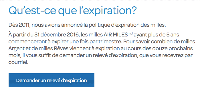 annonce expiration air miles