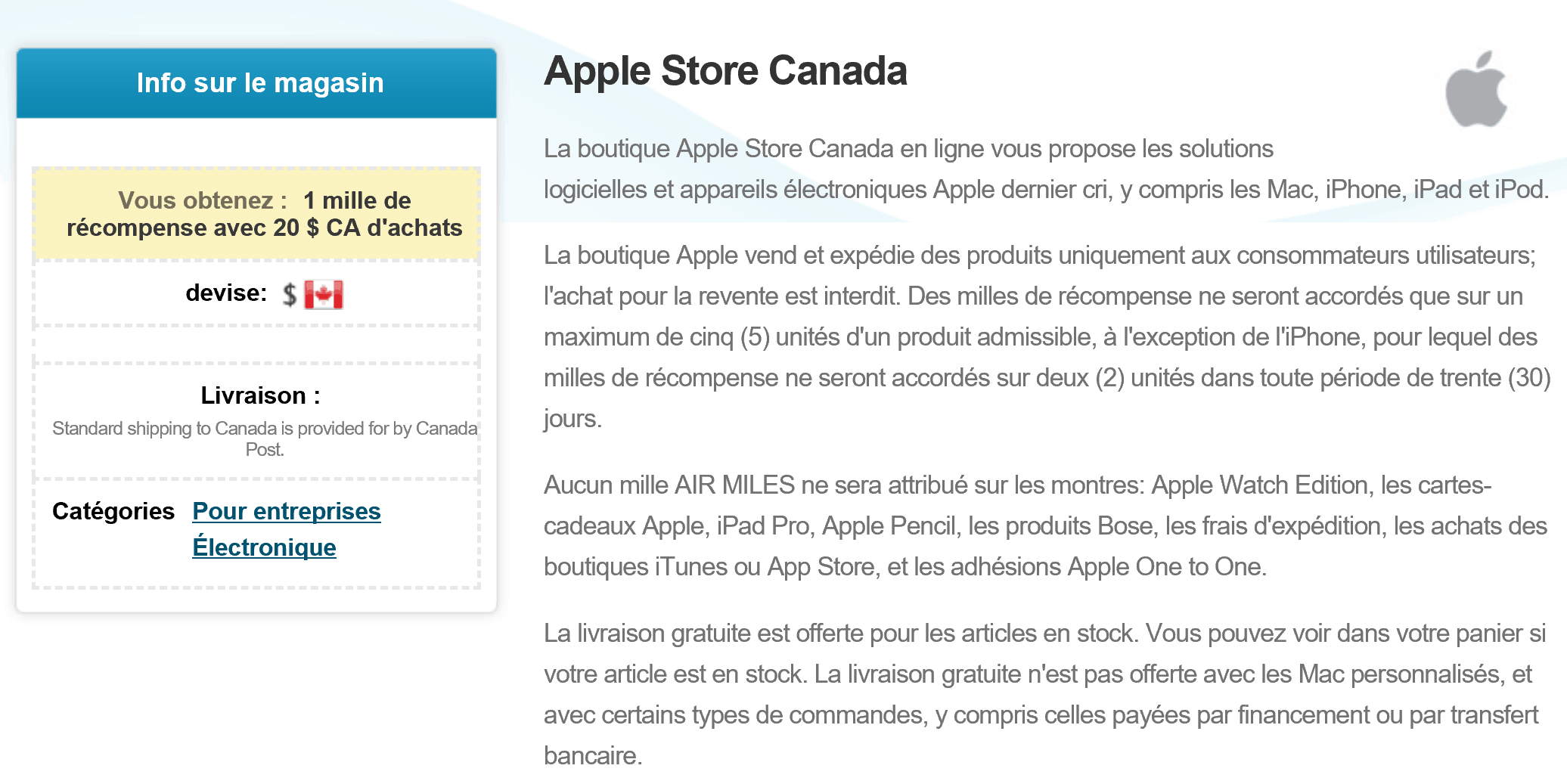 apple store air miles
