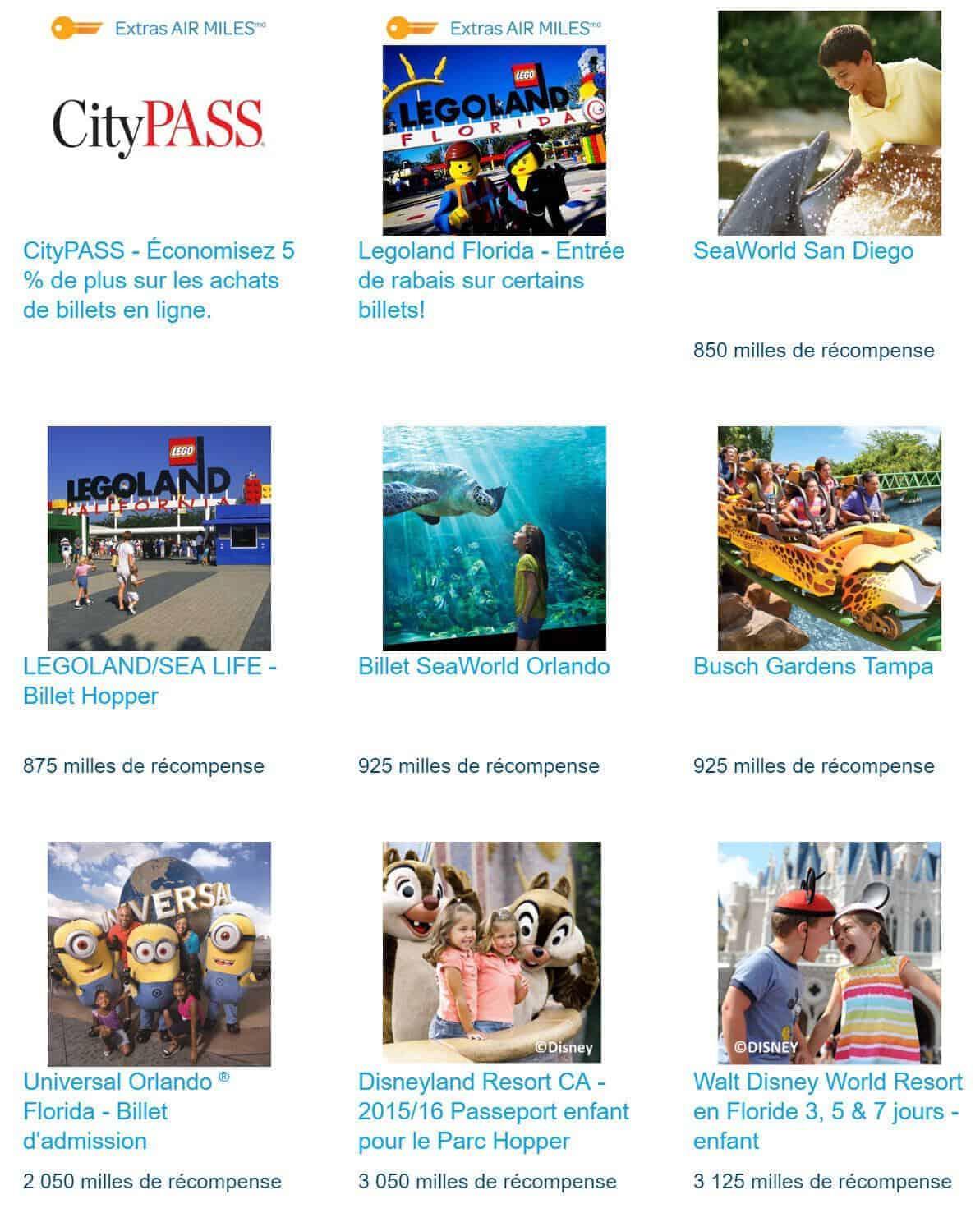 Les attractions aux États-Unis sur le compte Rêves AIR MILES