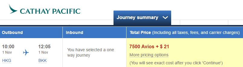 avios - hkg-bkk