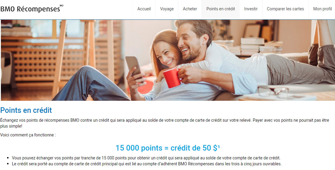 bmo points credit compte