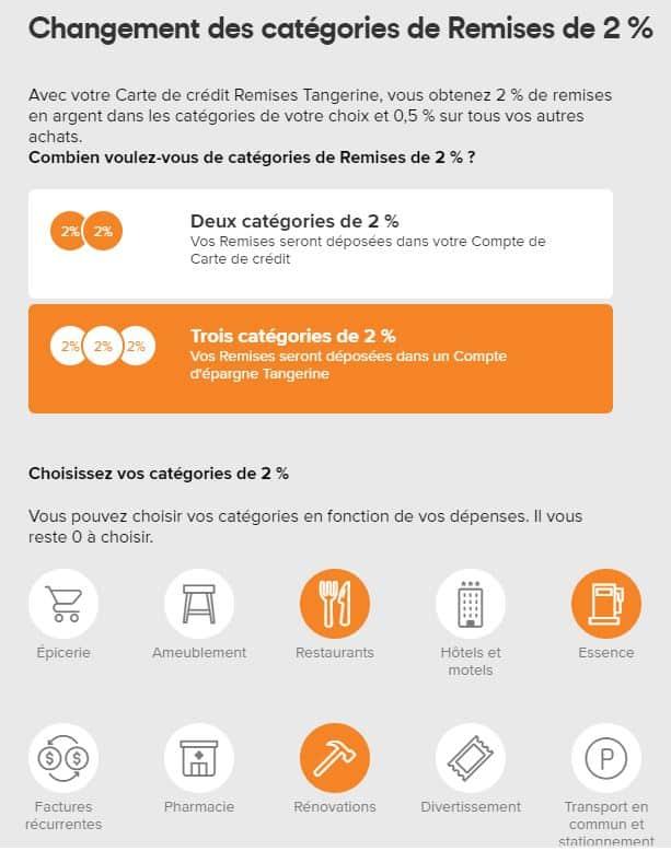 categories remises tangerine mastercard