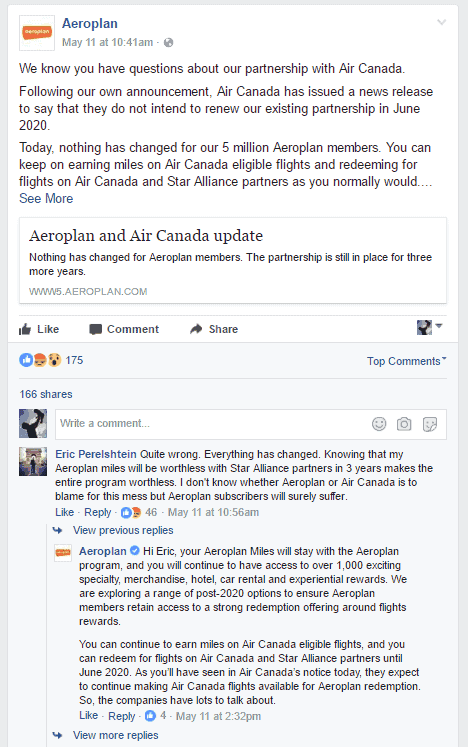 commentaires fb aeroplan