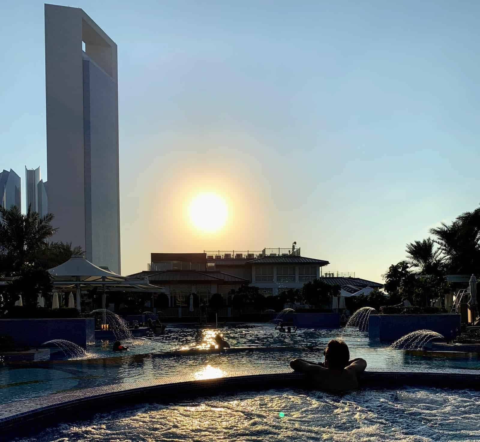 sunset on the st regis pool