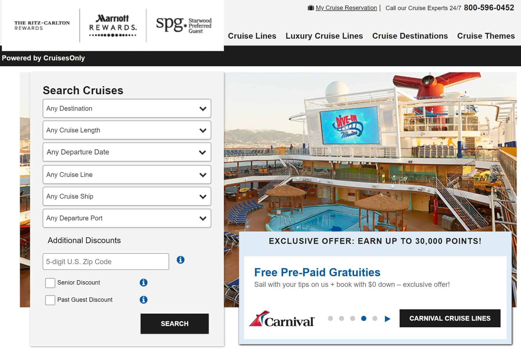 cruises only marriott rewards
