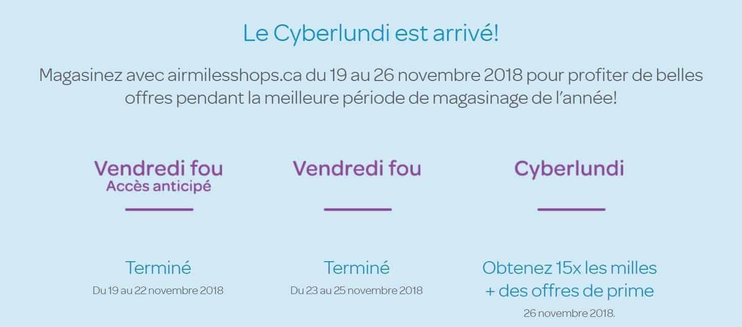 cyber lundi airmiles 2018