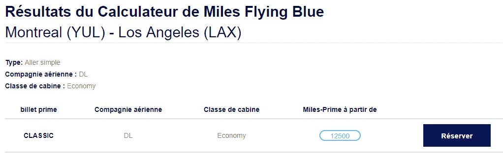 delta flying blue tarif