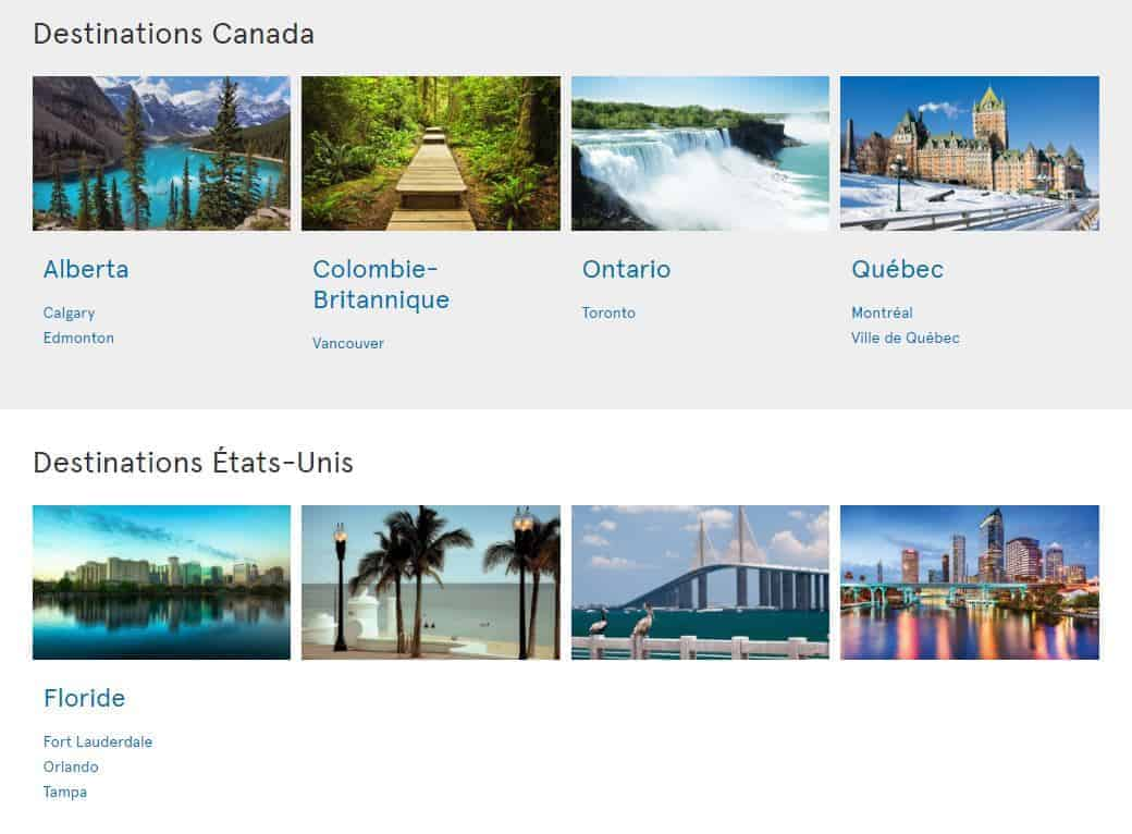 destinations amerique nord air transat