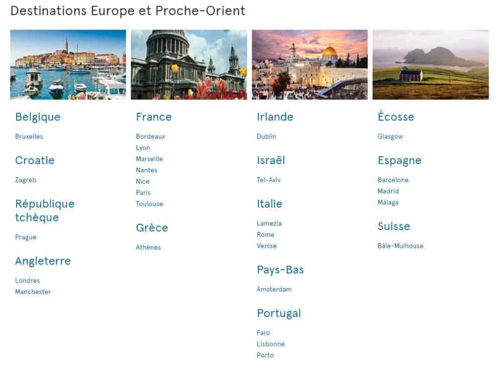 destinations europe air transat
