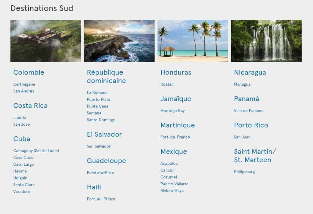 destinations sud air transat