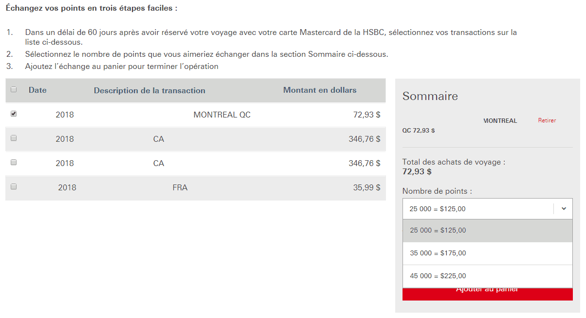 echange points hsbc voyages