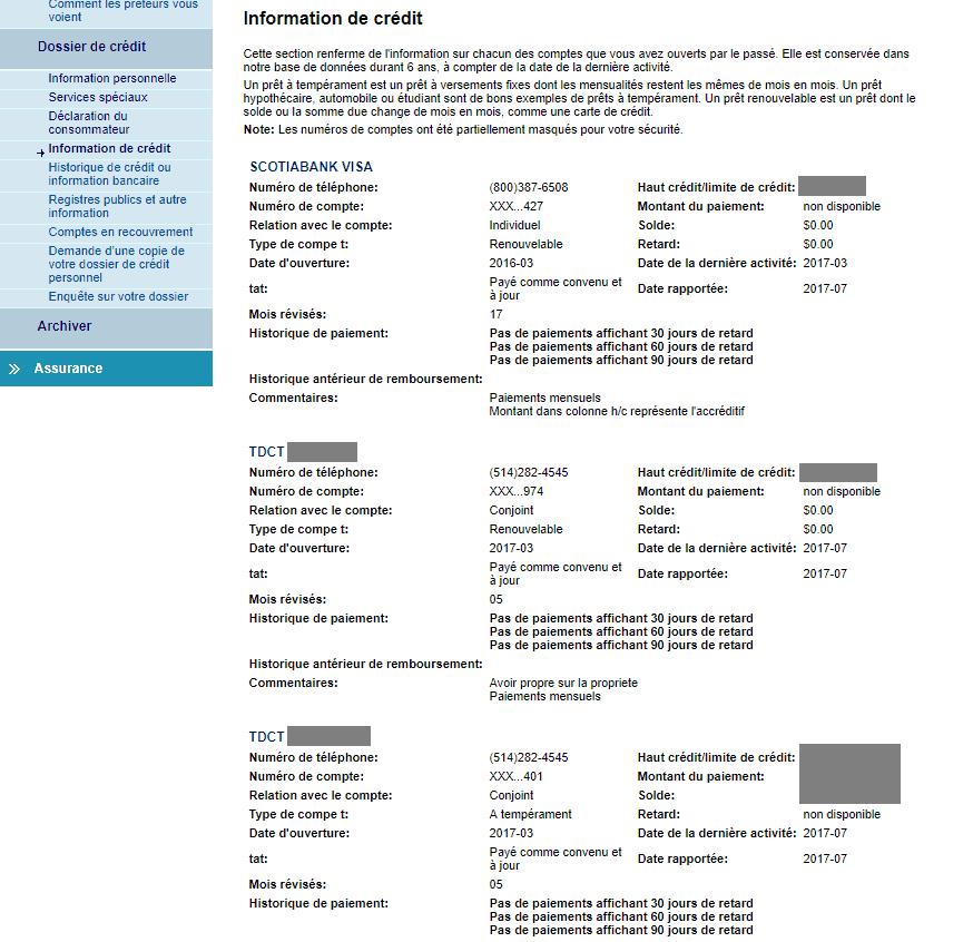 equifax info de credit