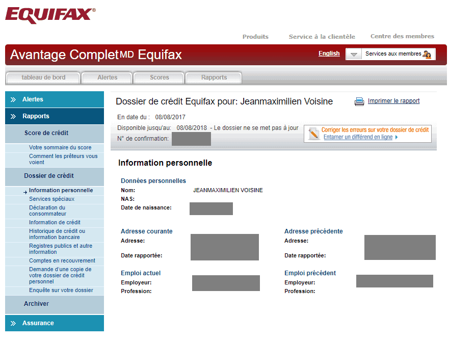 equifax infos personnelles