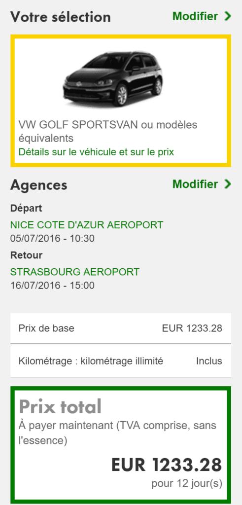europcar prix public