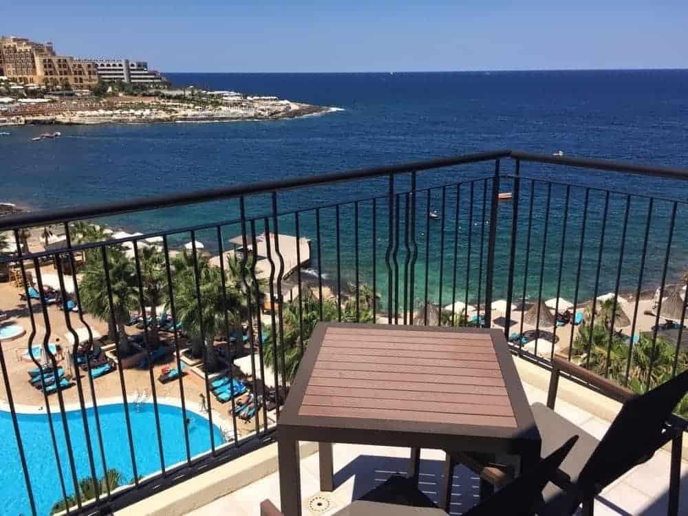 Vue de notre chambre au Westin Dragonara de Malte