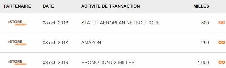 exemple amazon statut aeroplan