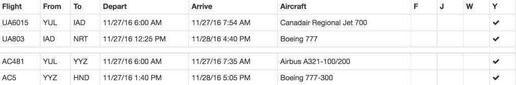 exemple resultats award flights