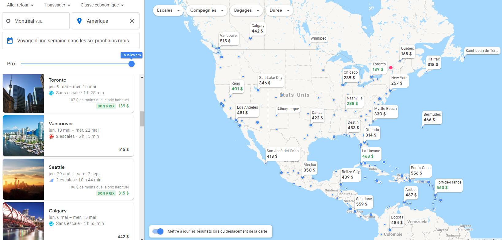 google flights mois ameriques