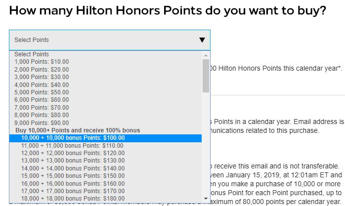 hilton points 2019