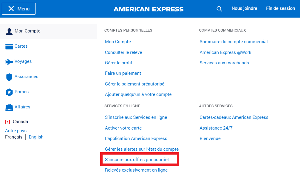inscription offres american express