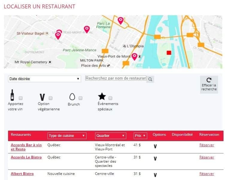 mtlatable localiser restaurant
