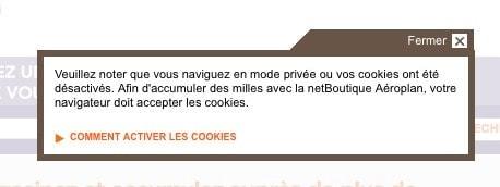 netboutique aeroplan warning cookie 1