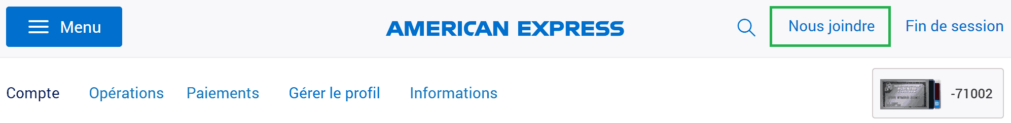 nous joindre amex