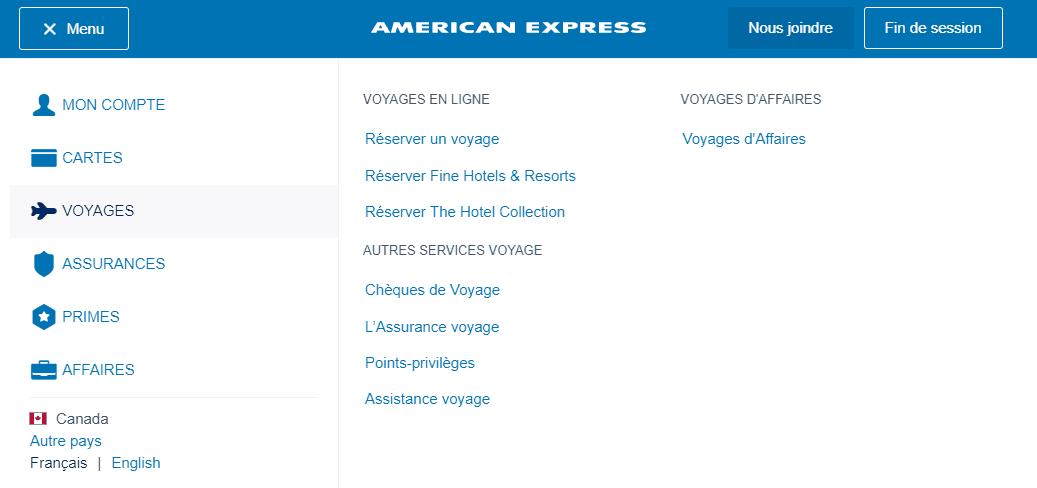 nouveau menu amex voyages