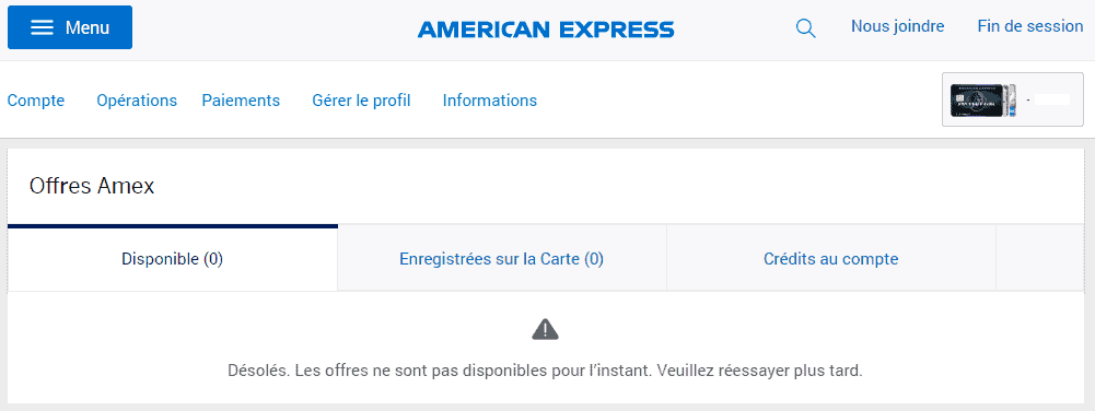 offres amex vide