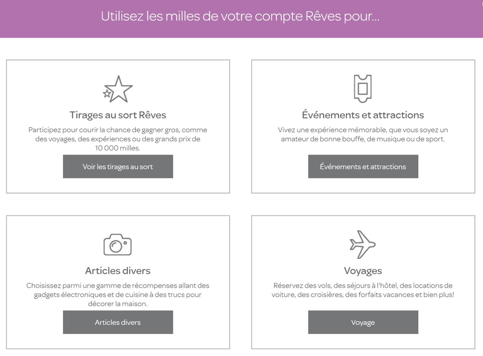Les 4 options du compte Rêves AIR MILES