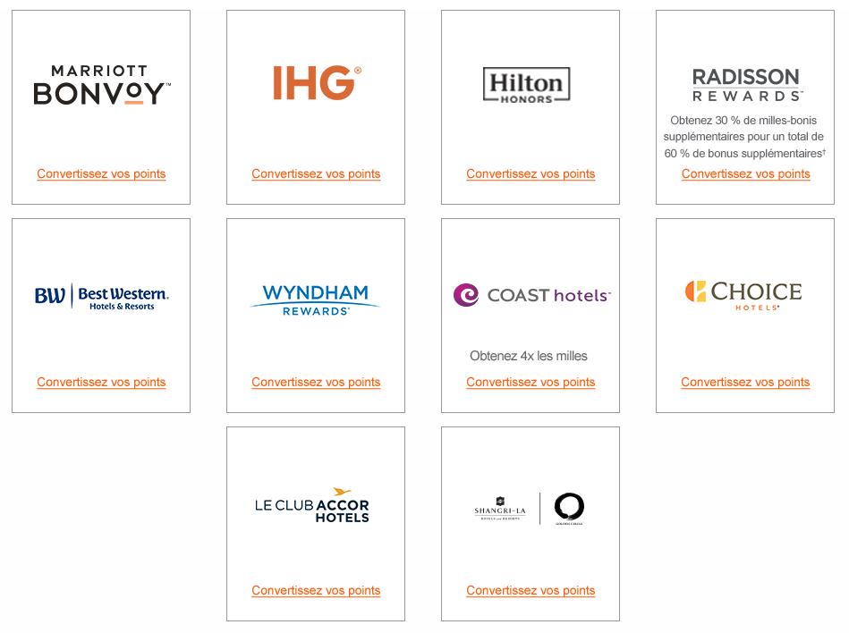 partenaires hotels aeroplan conversion