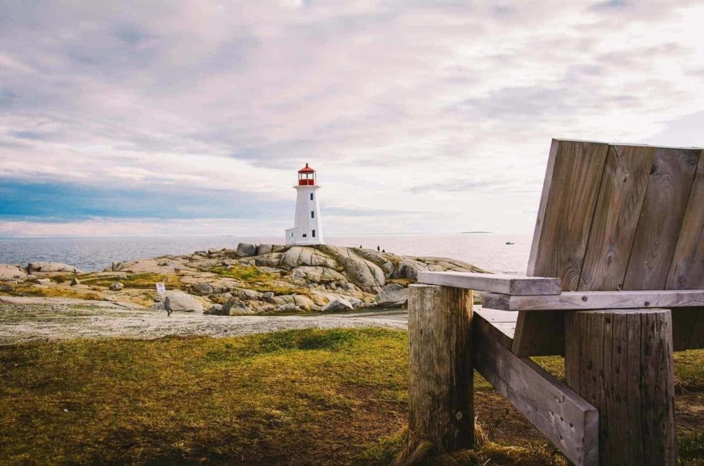 peggys cove and bench