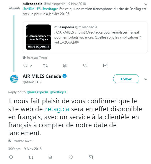 promesse redtag air miles
