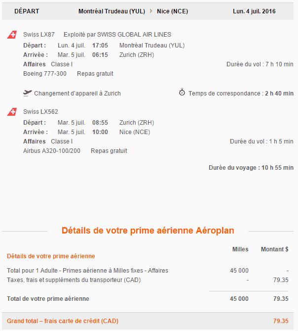 réservation swiss aeroplan e1459031660698