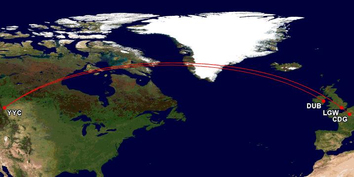 routes 787 westjet dub lgw cdg