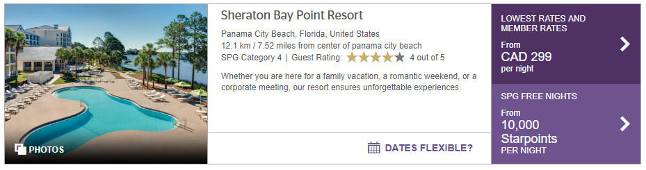 sheraton bay point resort tarif points