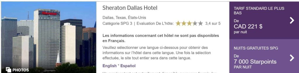 sheraton dallas spg