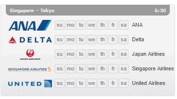 singapour tokyo flight connections