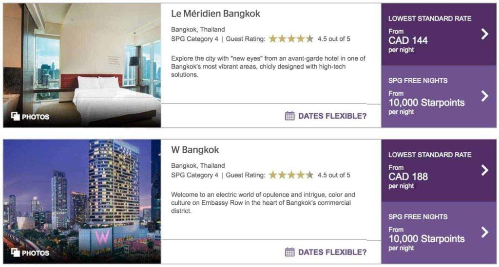 spg meridien et w bangkok