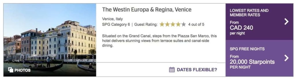 starwood preferred guest venise italie 2