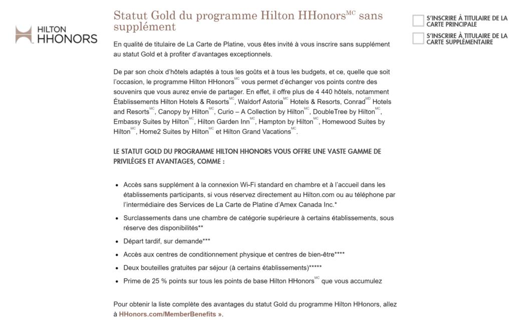 statut gold hilton platine
