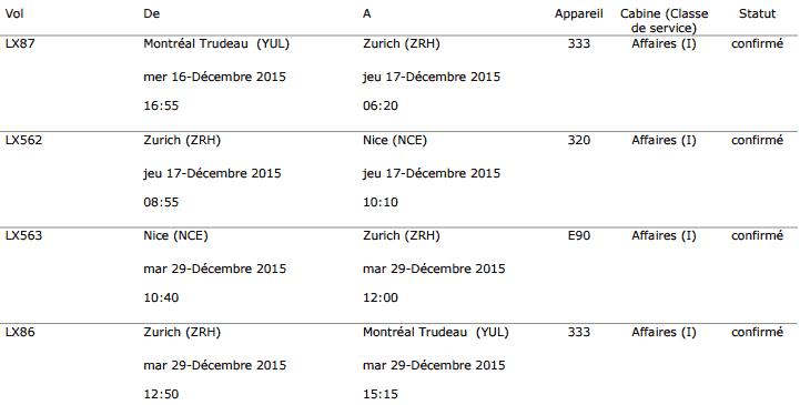 Réservation D'une Prime Aéroplan Sur Swiss En Classe Affaires