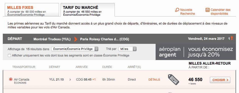 tarif aeroplan marche paris