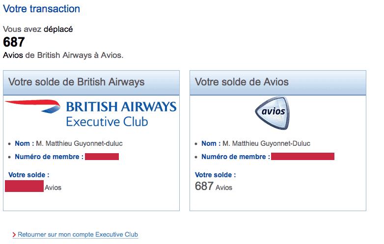 transfert ba avios