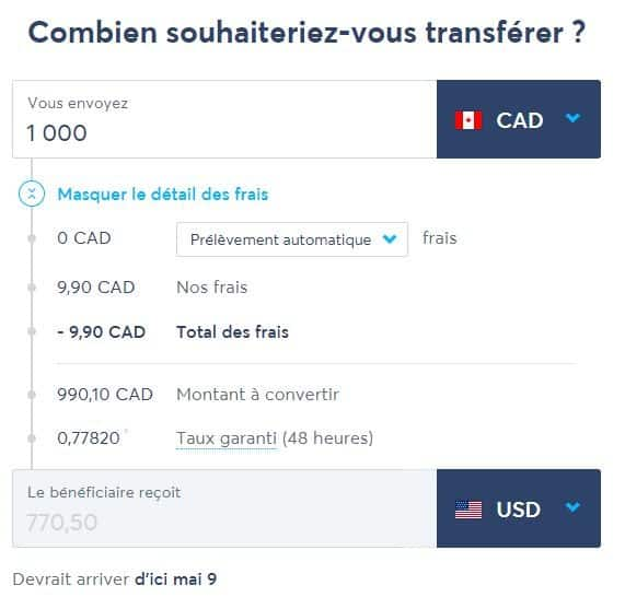 transferwise exemple transfert taux