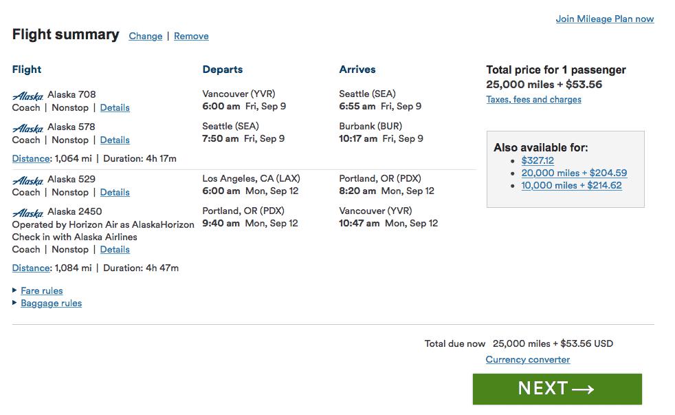 vancouver los angeles avec alaska airlines