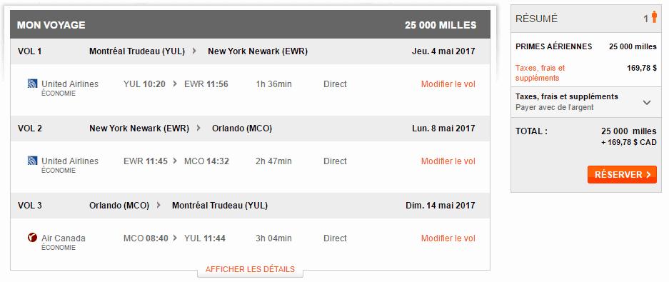 yul ewr mco yul 25 000 aeroplan